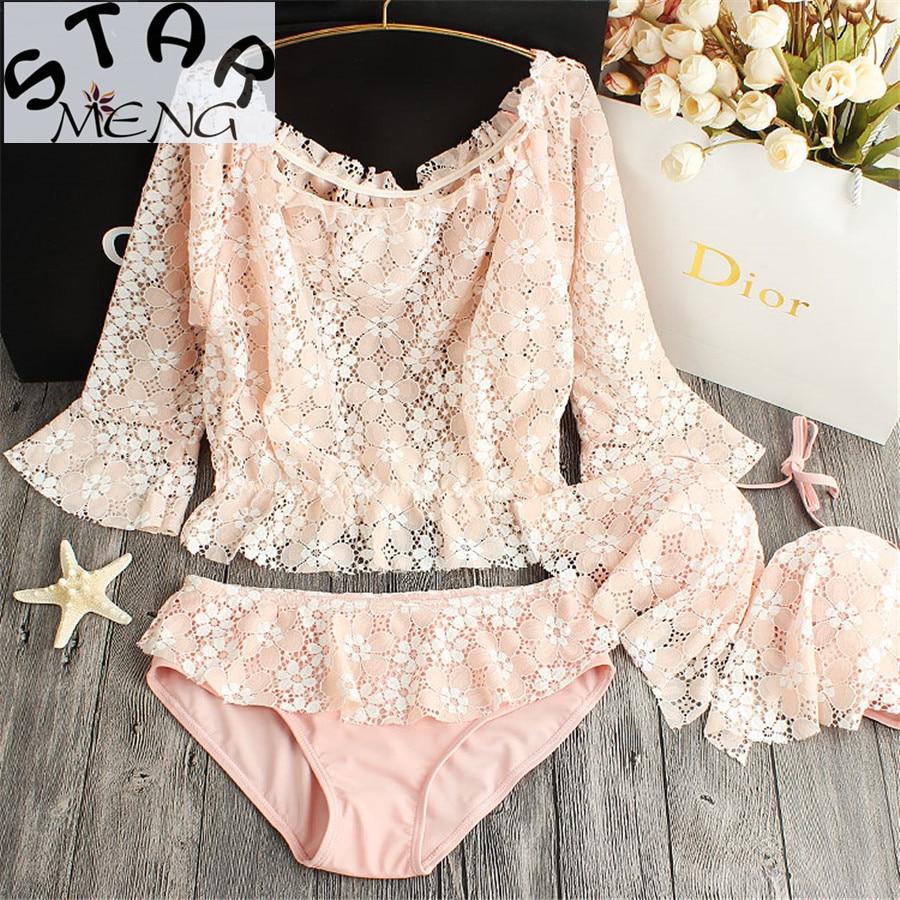 STAERK 2017 Pink temptation sexy cute lace swimwear small chest three piece swimsuit hot bikinis gather<br>