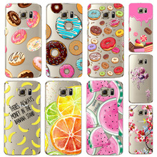 Phone Case For Samsung Galaxy S6 Ultra Soft TPU Transparent Fruit Pineapple Lemon Watermelon Colorful Dessert Macarons Cover