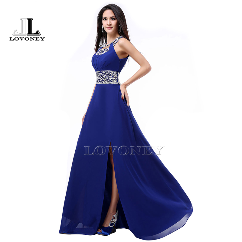 New Fashion A Line O Neck Side Split Sequin Elegant Long Formal Evening Dresses 2017 Vestido