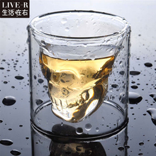 Live-R  3 sizes Two ways Shot Transparent Crystal Skull Head Glass Cup For Whiskey Wine Vodka Bar Club beer wine glass