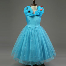 Cinderella Princess Wedding Girl Dress Blue Lace Buttfly Tutu New Year Party Evening Birthday Dresses Flower Elegant Kids Brand