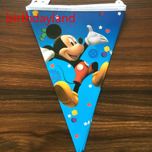 250cm*28cm 10pcs minnie mickey mouse theme paper Flags for Children birthday party decorative Banners