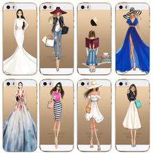 Fashion Dress Shopping Girl Love Patterns Soft Sillicon TPU Back Cases Cover For Apple iphone 5 5s SE Phone cases fundas coque