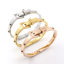 Promotion 316L Punk Stainless Steel Belt Buckle Cuff Love Bangles & Bracelets Openable gold color Women Men Famous Jewelry