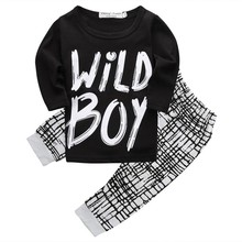 2017 Autumn Winter Baby Boy Clothes Long Sleeve Letter Print Top + Pants 2 Pcs Suit Newborn Infant Clothing Set(China)
