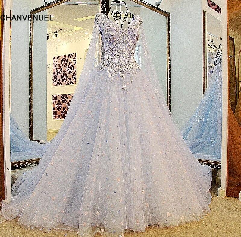 LS25501 последние вечернее платье конструкции светло-синий бисером халат Восточный араб развертки Поезд рукавов длинный мыс платье(China)