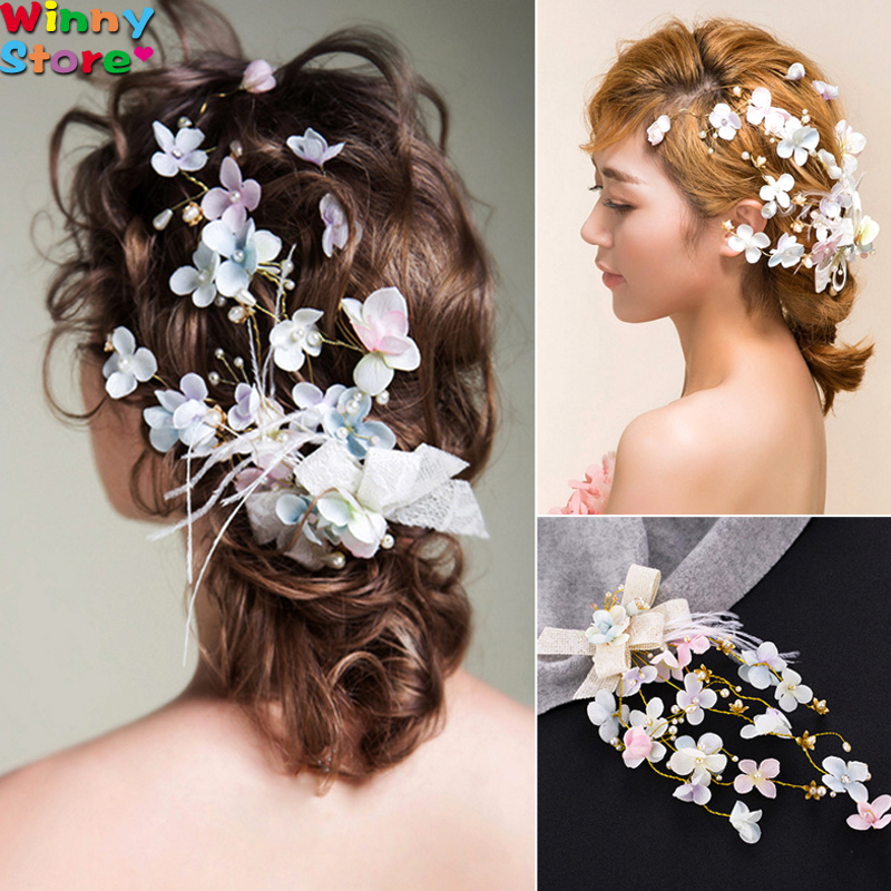 Beach Wedding Hair Accessories Multicolor Flower Barrettes For Women Bridal Pearl Clip Feather Hairpin Costume Headpiece In Jewelry From