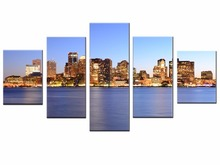 Hot Sales Framed 5 Panels Picture City Night Series HD Canvas Print Painting Artwork Wall Art Canvas painting WholesaleJ004-068(China)