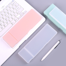MUJI STYLE Simple transparent pencil case pencil box Plastic storage box Learning stationery Office Supplies(China)