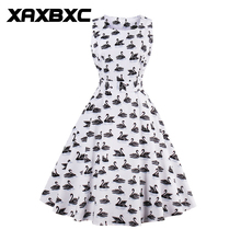 XAXBXC 2017 Summer Retro Vestido Swan Flower Strawberry Prints Vintage 1950s Swing A-line Women Dress Evening Party Plus Size