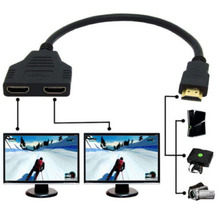 New Portable HDMI 1 Male To Dual HDMI 2 Female Y Splitter Cable Adapter in HDMI HD LED LCD TV 30cm