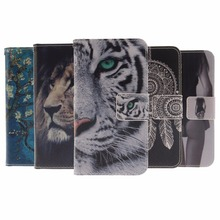 Flip Leather Mobile Phone coque Case For huawei honor 5x X5 GR5 5 x Fundas Wallet Cover Tiger Case for Huawei mate 7 mini Capa