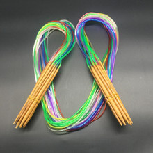 High Quality 120cm 47inch 18 pairs Multicolor Tube Circular Bamboo Knitting Needles Set 18 Size
