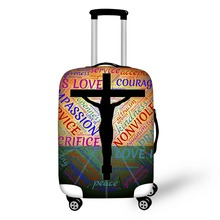 Wholesale Jesus Cross Print Travel Luggage Protector Covers Church Suitcase Cover Vintage Dustproof Strech New Style FORUDESIGNS(China)