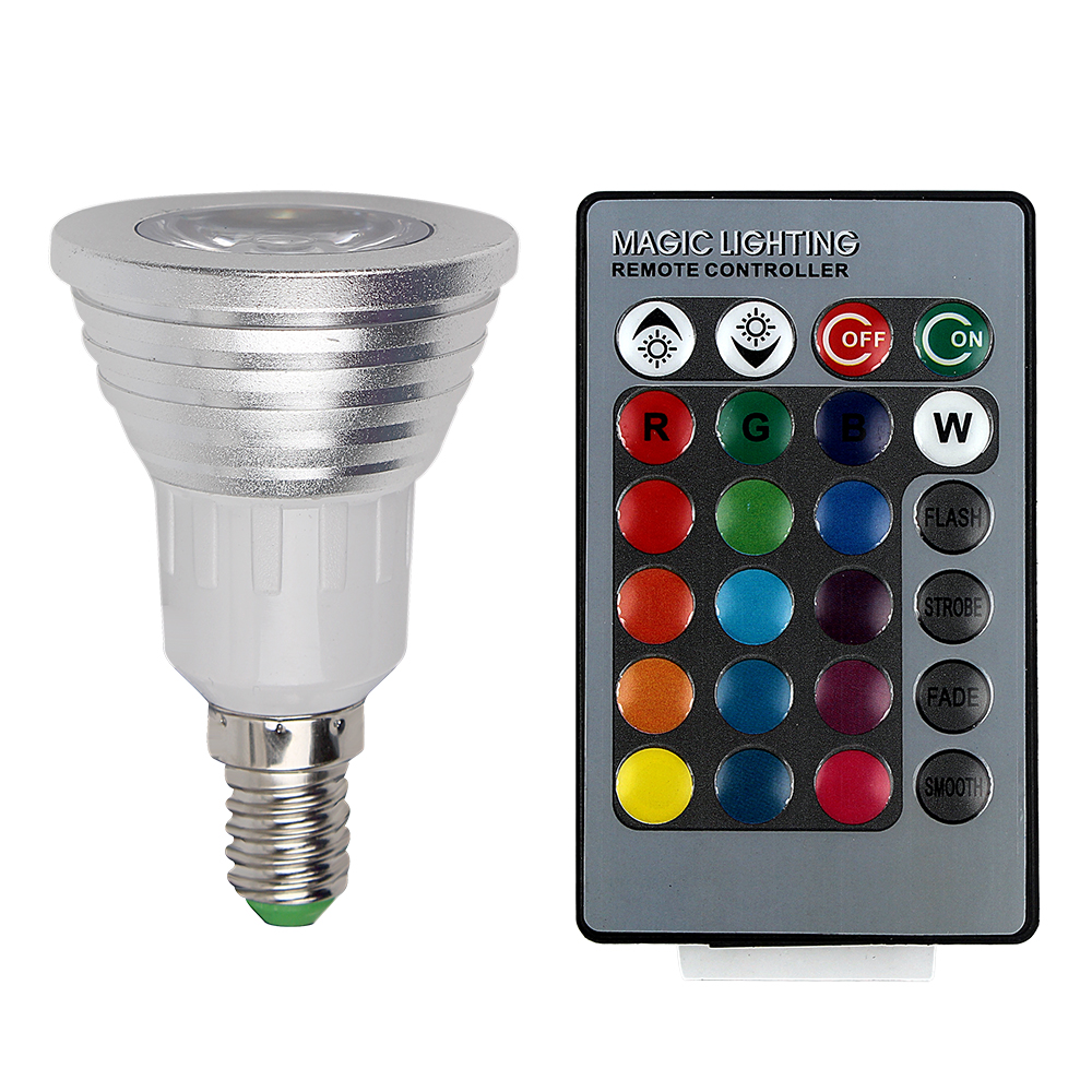 16 Colors AC 110V 220V 230V Dimmable E14 E27 Changeable Spotlight 3W RGB Bulb Atmosphere LED Lamp IR Remote Control #KF<br><br>Aliexpress