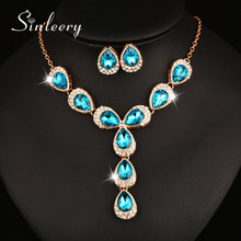 SINLEERY Gold Color Sexy Long Pendant Bridesmaid Jewelry Sets Purple & Blue Water Drop Rhinestone Necklace Earrings Set   Tz118