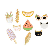 Fashion Cute Animals/Plants/Fruit Brooch Jewelry Pet Cat Watermelon Lemon Potted Cactus Brooch Pins Backpack Jeans Accessories