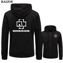 New 2017 Fashion Hoodies Men Fleece Rammstein Rock Casual Black Band Hip Hop Mens Hoodies Sweatshirts Zipper Cardigan