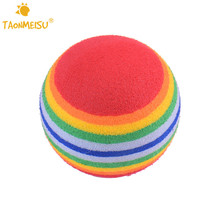 10pcs/lot Colorful Striped Cat Ball Toys 35mm EVA Pet Kitten Rainbow Golf Practice Balls Toy Fun Stratch Toys Pets Supplies(China)