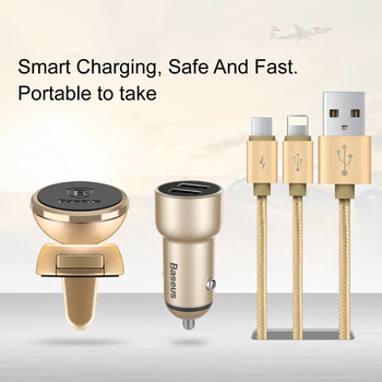 Baseus Universal Car Charger Kit 360 Air Vent Magnetic Car Holder + Dual Port USB Car Charger + 2in1 Micro / iPhone Charge Cable
