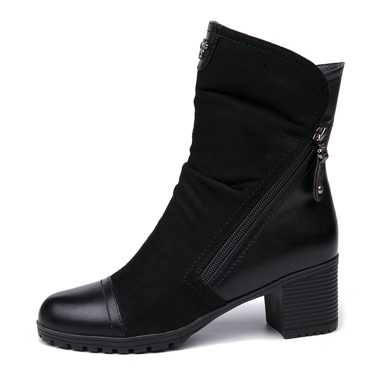 AIMEIGAO New Arrival High Heels boots Women Suede Leather Black Boots Double Zip Short Plush High Quality Women Shoes