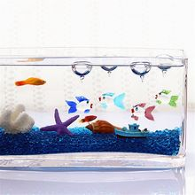 Glass Colorful Aquarium Floating Blown Fish Crab Bubble Micro Fish Tank Landscape Ornament Decoration Fish Aquatic Accessories(China)