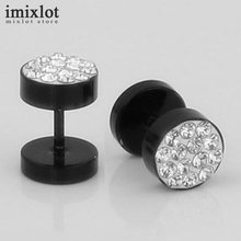 Imixlot Brand Black Silver Stainless Steel Earrings Women Men's Barbell Dumbbell Punk Gothic Crystal Stud Earring For Men