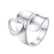love heart cool adjustable for men Wholesale 925 jewelry silver plated ring big size ,fashion jewelry Ring for Women,(China)