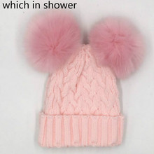 which in shower Double Faux Fox Fur Pompom Kid Winter Hat Knitted Two Artificial Fur Pom Pom Ball Beanie Cap For Children Girl