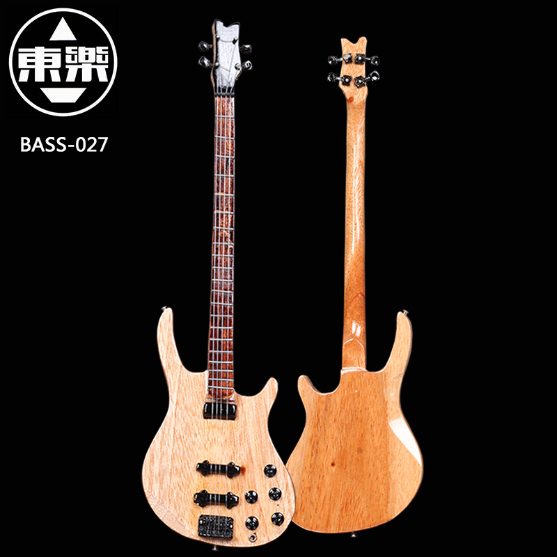 Wooden Handcrafted Miniature Guitar Model Bass-027 Bass Guitar Display with Case and Stand (Not Actual Bass! for Display Only!)<br>