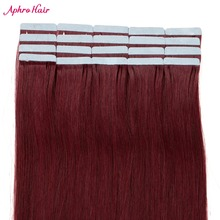 Aphro Hair Tape in Human Hair Extension Non-Remy Skin Weft Tape Hair Extensions 20pcs/lot 50G Brazilian Straight Hair #99J