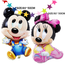 84 x 50CM Big Jumbo Mickey Minnie Foil Balloons, Cartoon Kids Birthday Party Decoration Baby Boy Girl Mickey Balloon