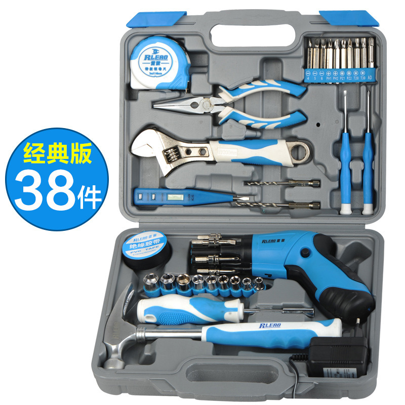 38 Pcs Set High Quality Electric Drill Impact Drill Hand Tools Power Tools Drill Set Family Electric Toolbox Set Group Set Tool<br>