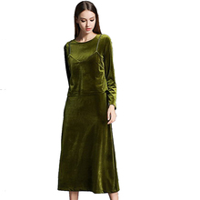 New Arrival High Quality Women Winter Wear Work Velvet Dress Green Ladies Office Long Dresses Two Piece Sets Korea Y0608