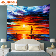 sunset Tapestry Oil Painting Scenic Wall hanging Tapestries India Mandala mat Beach Towel blanket Bikini Cover up table cloth