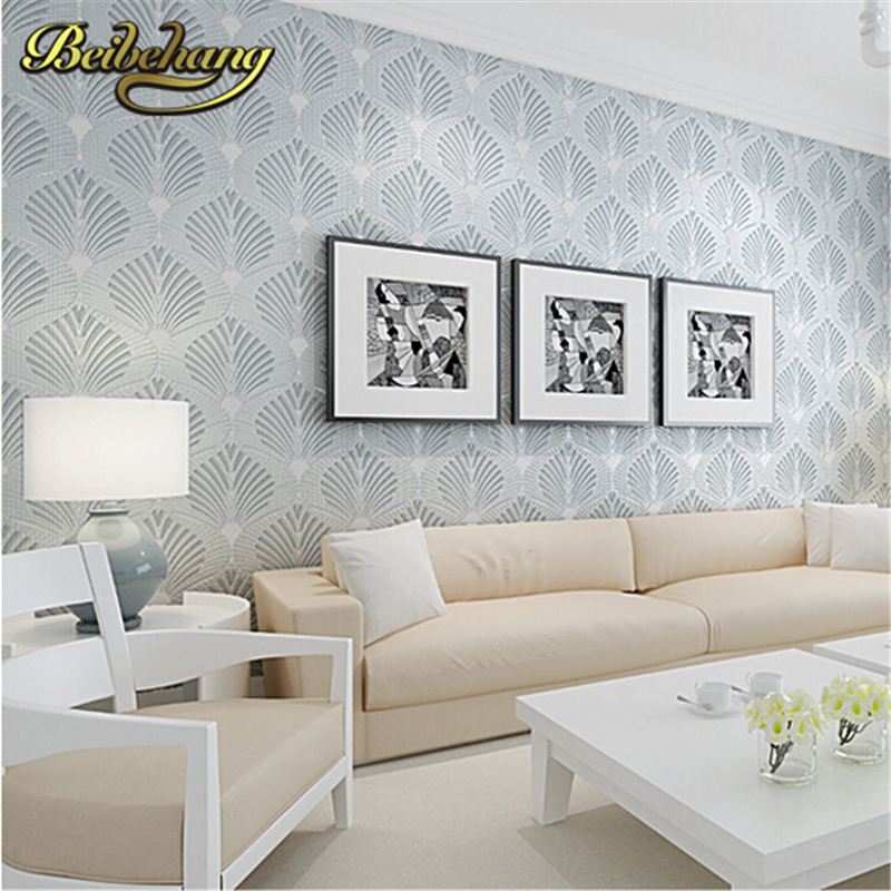 beibehang non-woven wallpaper modern simple wall paper roll glitter shell pattern wall covering gold papel de parede listrado <br>