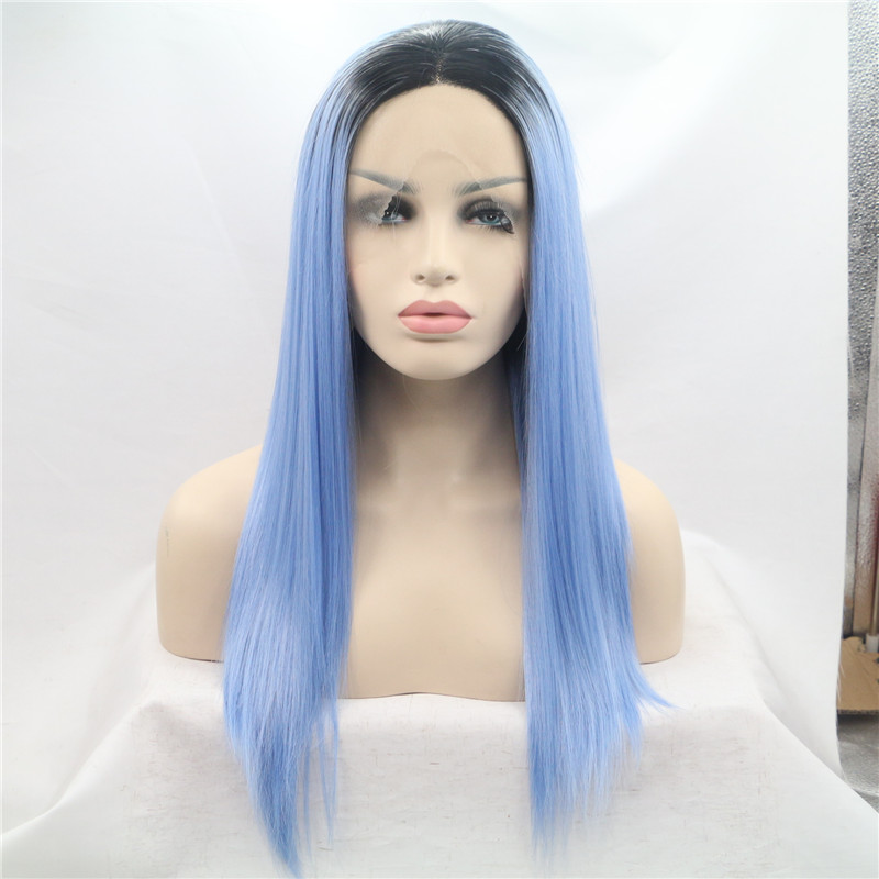 2016 New arrival ombre hair heat resistant synthetic hair long straight lace front wig for women black to blue synthetic wig<br><br>Aliexpress