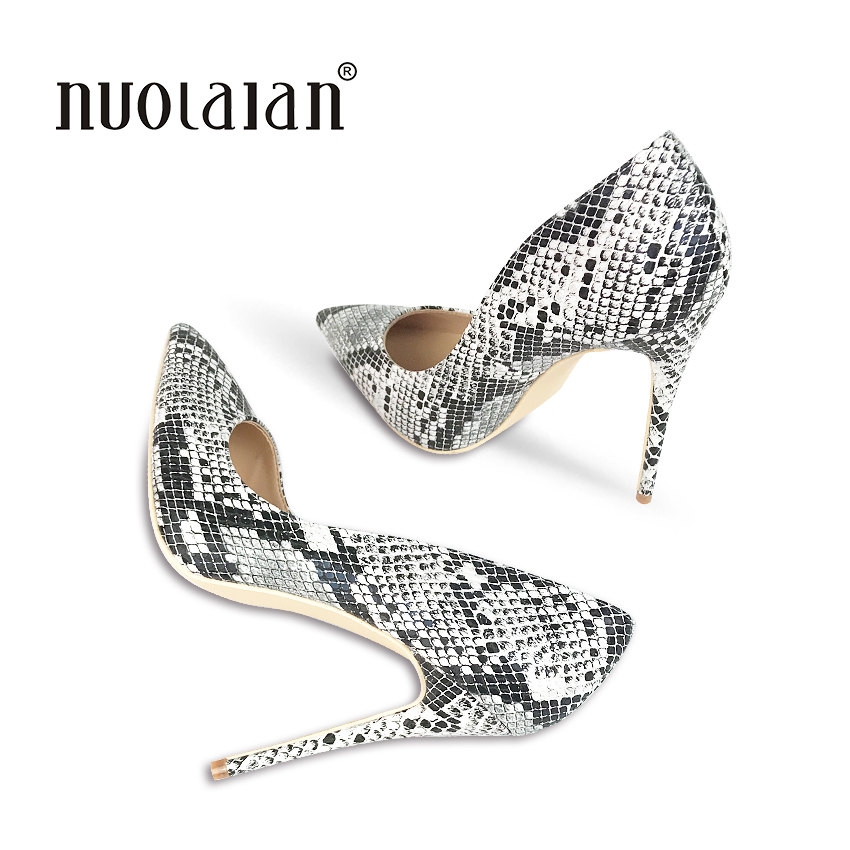 2018 Shoes Woman Snake Printed Women Shoes Sexy Stilettos 12CM High Heels Pumps Pointed Ladies Party Wedding Shoes Women Pumps<br>