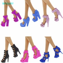 Fashion Shoes Daily Casual Mixed Style Colorful Sandals High Heels Dress Up DIY Clothes For Barbie Doll Accessories Gifts Toys(China)