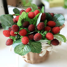 free shipping 9 fruit decoration flower artificial fruit paddle strawberry photo props Artificial plant decoration basket vase(China)