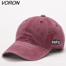 VORON Washed Baseball Caps Women Solid Color Dad Hat Men Bad Hair Day OOPS Letter Embroidery Couple cap Pink Black trucker hat