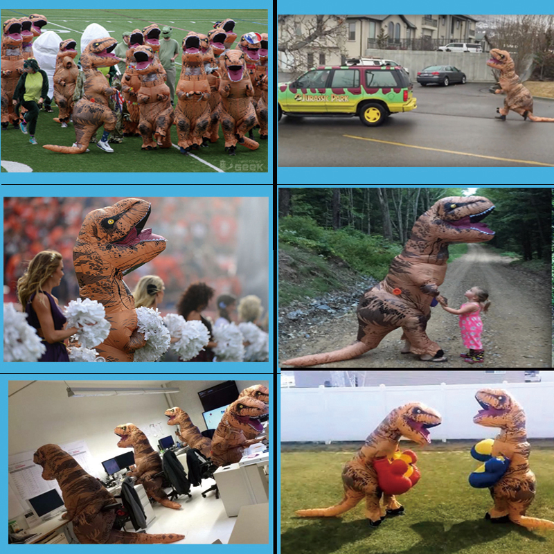 Party Adult t rex Dinosaur Costume Halloween Cosplay Inflatable Dinosaur T REX Blowup Mascot Costumes for Women (6)