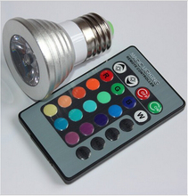Wholesale 9W RGB LED Spotlight GU10 E27//E14/MR16 16 colour High Tech LED Lamp Spot light + IR remote control Free shipping