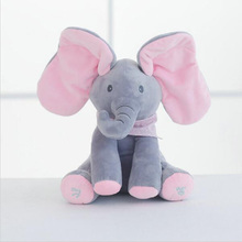 Peek A Boo Elephant Stuffed Animals & Plush Elephant Doll, Play Music Elephant Educational Anti-stress Electric Toy For Baby W19