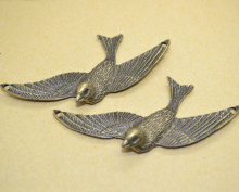 5Pcs Zinc Alloy Charms Antique Bronze Plated bird Charms Pendants Metal Jewelry Findings Fit DIY 41*72mm 1444