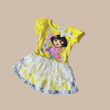 2 years girls summer cartoon dora dress yellow kids cotton clothes for summer fashion brand dress for girls