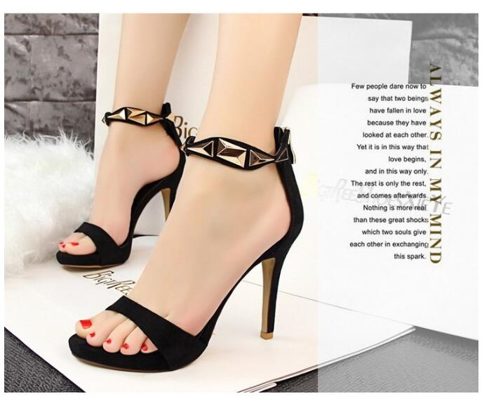 pu leather fashion female high-heeled sandals sexy nightclub fine with high-heeled sandals with metal high 10.5 cm<br><br>Aliexpress