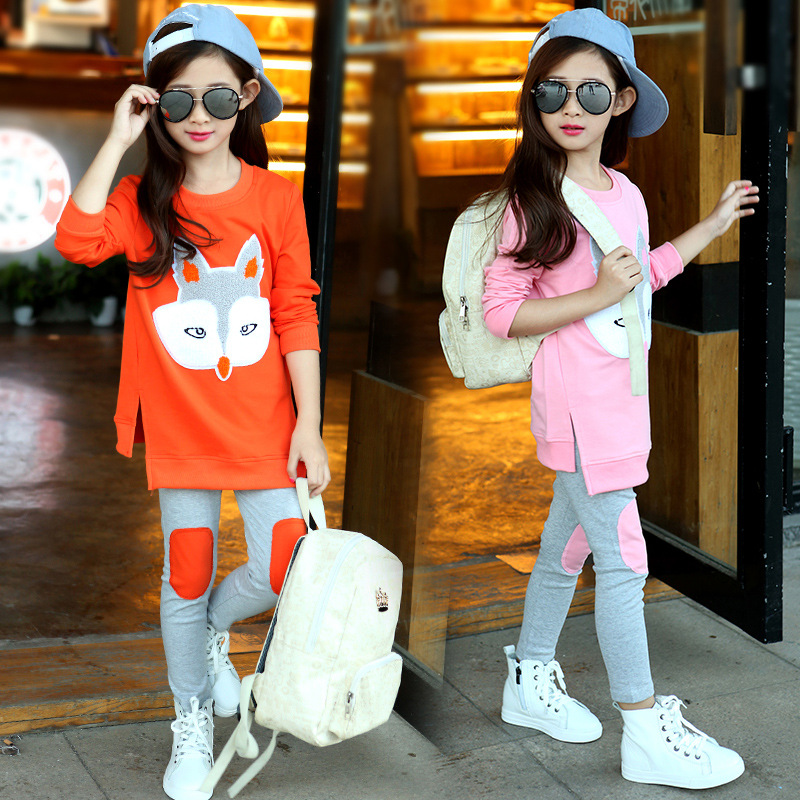 2017 new girls fox suit childrens clothing autumn two sets of new sweater childrens movement hoodies 4 5 6 7 8 9 10 11 12 year<br>