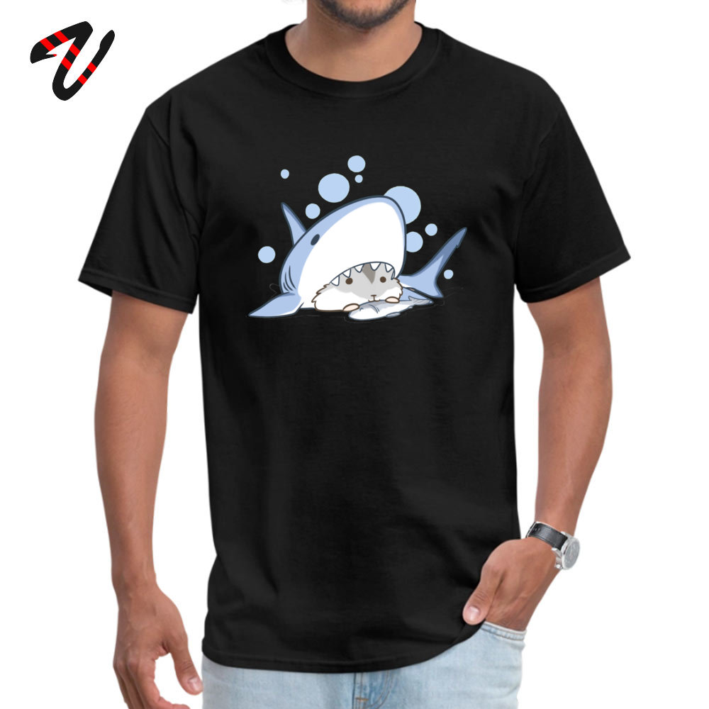 Coupons Hamster Shark Comics Short Sleeve Top T-shirts Mother Day O Neck Pure Cotton T Shirt for Men Top T-shirts Printed On Hamster Shark 2303 black
