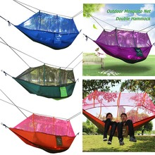 Ultralight Outdoor Camping Hunting Mosquito Net Parachute Hammock 2 Person Garden Beach Hammock Hanging Bed Leisure Sleeping Bed(China)